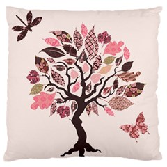 Tree Butterfly Insect Leaf Pink Standard Flano Cushion Case (one Side)
