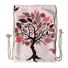 Tree Butterfly Insect Leaf Pink Drawstring Bag (large) by Alisyart