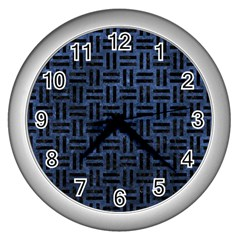 Woven1 Black Marble & Blue Stone (r) Wall Clock (silver) by trendistuff