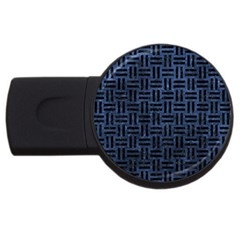 Woven1 Black Marble & Blue Stone (r) Usb Flash Drive Round (4 Gb) by trendistuff