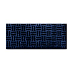 Woven1 Black Marble & Blue Stone (r) Hand Towel by trendistuff