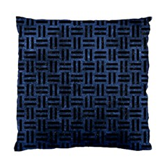Woven1 Black Marble & Blue Stone (r) Standard Cushion Case (one Side) by trendistuff