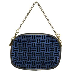 Woven1 Black Marble & Blue Stone (r) Chain Purse (two Sides) by trendistuff