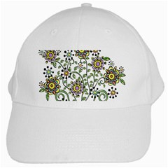 Frame Flower Floral Sun Purple Yellow Green White Cap by Alisyart