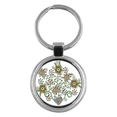 Frame Flower Floral Sun Purple Yellow Green Key Chains (round)