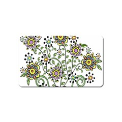 Frame Flower Floral Sun Purple Yellow Green Magnet (name Card) by Alisyart