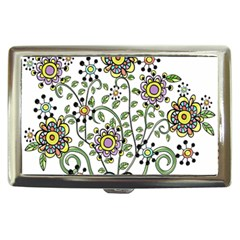 Frame Flower Floral Sun Purple Yellow Green Cigarette Money Cases