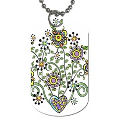 Frame Flower Floral Sun Purple Yellow Green Dog Tag (two Sides)