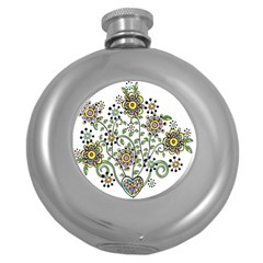 Frame Flower Floral Sun Purple Yellow Green Round Hip Flask (5 Oz) by Alisyart