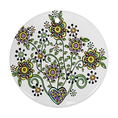 Frame Flower Floral Sun Purple Yellow Green Round Ornament (two Sides) by Alisyart