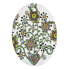 Frame Flower Floral Sun Purple Yellow Green Oval Ornament (two Sides) by Alisyart