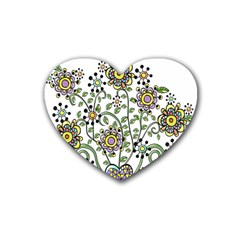 Frame Flower Floral Sun Purple Yellow Green Rubber Coaster (heart)