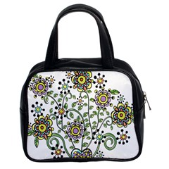 Frame Flower Floral Sun Purple Yellow Green Classic Handbags (2 Sides) by Alisyart