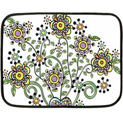 Frame Flower Floral Sun Purple Yellow Green Double Sided Fleece Blanket (mini)  by Alisyart