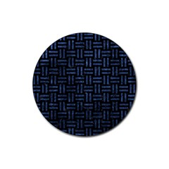 Woven1 Black Marble & Blue Stone Rubber Round Coaster (4 Pack) by trendistuff