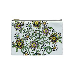 Frame Flower Floral Sun Purple Yellow Green Cosmetic Bag (medium)  by Alisyart