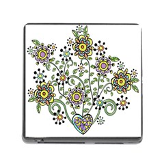 Frame Flower Floral Sun Purple Yellow Green Memory Card Reader (square) by Alisyart