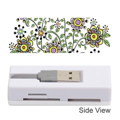 Frame Flower Floral Sun Purple Yellow Green Memory Card Reader (stick)  by Alisyart