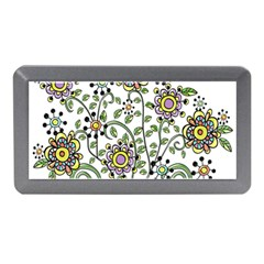 Frame Flower Floral Sun Purple Yellow Green Memory Card Reader (mini) by Alisyart