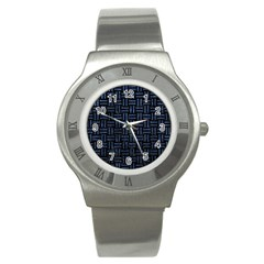 Woven1 Black Marble & Blue Stone Stainless Steel Watch by trendistuff