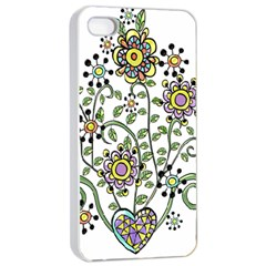 Frame Flower Floral Sun Purple Yellow Green Apple Iphone 4/4s Seamless Case (white) by Alisyart