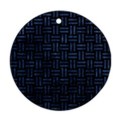 Woven1 Black Marble & Blue Stone Round Ornament (two Sides) by trendistuff
