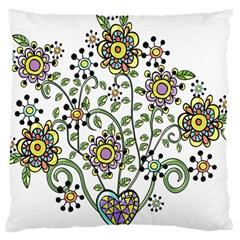 Frame Flower Floral Sun Purple Yellow Green Large Cushion Case (two Sides)