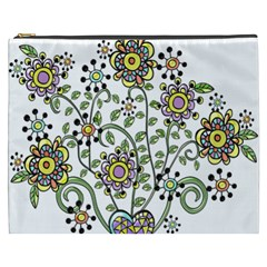 Frame Flower Floral Sun Purple Yellow Green Cosmetic Bag (xxxl)  by Alisyart