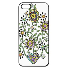 Frame Flower Floral Sun Purple Yellow Green Apple Iphone 5 Seamless Case (black) by Alisyart