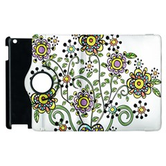 Frame Flower Floral Sun Purple Yellow Green Apple Ipad 2 Flip 360 Case by Alisyart