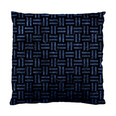 Woven1 Black Marble & Blue Stone Standard Cushion Case (one Side) by trendistuff