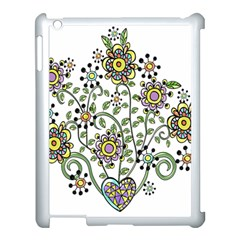Frame Flower Floral Sun Purple Yellow Green Apple Ipad 3/4 Case (white)