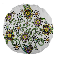 Frame Flower Floral Sun Purple Yellow Green Large 18  Premium Round Cushions