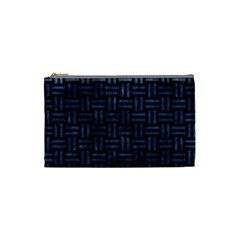Woven1 Black Marble & Blue Stone Cosmetic Bag (small) by trendistuff