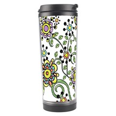 Frame Flower Floral Sun Purple Yellow Green Travel Tumbler by Alisyart
