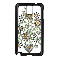 Frame Flower Floral Sun Purple Yellow Green Samsung Galaxy Note 3 N9005 Case (black)