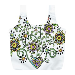 Frame Flower Floral Sun Purple Yellow Green Full Print Recycle Bags (l)  by Alisyart