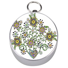 Frame Flower Floral Sun Purple Yellow Green Silver Compasses by Alisyart