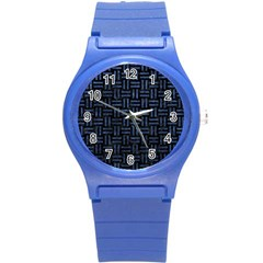 Woven1 Black Marble & Blue Stone Round Plastic Sport Watch (s) by trendistuff