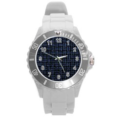 Woven1 Black Marble & Blue Stone Round Plastic Sport Watch (l) by trendistuff