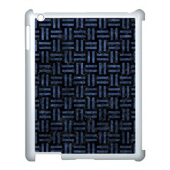 Woven1 Black Marble & Blue Stone Apple Ipad 3/4 Case (white) by trendistuff