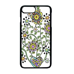 Frame Flower Floral Sun Purple Yellow Green Apple Iphone 7 Plus Seamless Case (black) by Alisyart