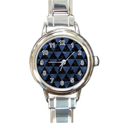 Triangle3 Black Marble & Blue Stone Round Italian Charm Watch by trendistuff