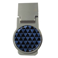 Triangle3 Black Marble & Blue Stone Money Clip (round) by trendistuff