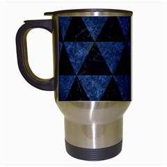 Triangle3 Black Marble & Blue Stone Travel Mug (white) by trendistuff