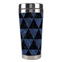 Triangle3 Black Marble & Blue Stone Stainless Steel Travel Tumbler by trendistuff