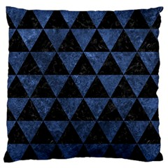 Triangle3 Black Marble & Blue Stone Large Flano Cushion Case (one Side) by trendistuff