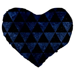Triangle3 Black Marble & Blue Stone Large 19  Premium Flano Heart Shape Cushion by trendistuff