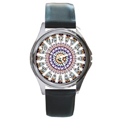 Circle Star Rainbow Color Blue Gold Prismatic Mandala Line Art Round Metal Watch by Alisyart