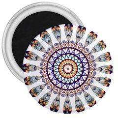 Circle Star Rainbow Color Blue Gold Prismatic Mandala Line Art 3  Magnets by Alisyart